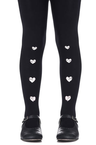 Zohara Kids Black Opaque Tights Heart Chain Print