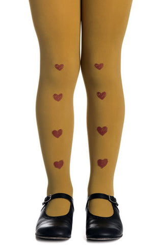 Zohara Kids Mustard Opaque Tights Heart Chain Print