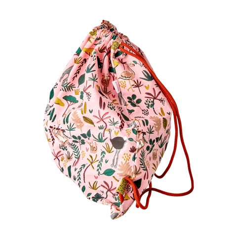 Rice DK | Cotton Drawstring Bag Jungle Animal Print Coral