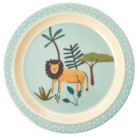 Rice Dk Melamine Kid Blue Jungle Animal Lunch Plate