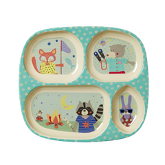 Rice DK | Kids 4 Room Melamine Plate with Boys Happy Camper Print