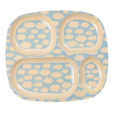 Rice DK | Kids Melamine 4 Room Blue Plate with Cloud Print