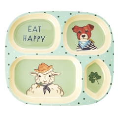 Rice DK | Kids Melamine 4 Room Green Plate with Animal Farm Print