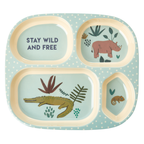 Rice DK | Kids 4 Room Melamine Plate Blue Jungle Animal Print