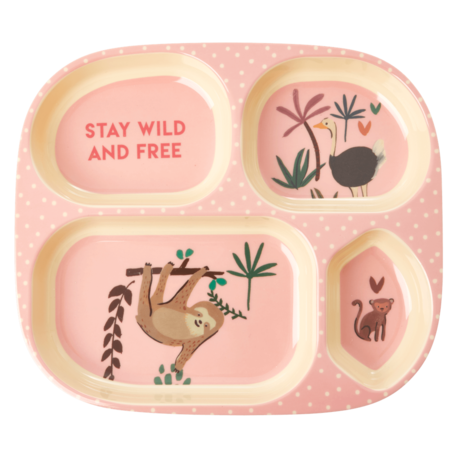 Rice DK | Kids 4 Room Melamine Plate Pink Jungle Animal Print