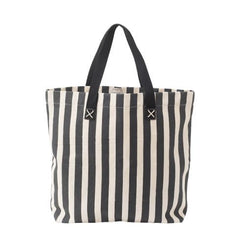 Lisbeth Dahl Grey and Cream Striped Canvas Bag