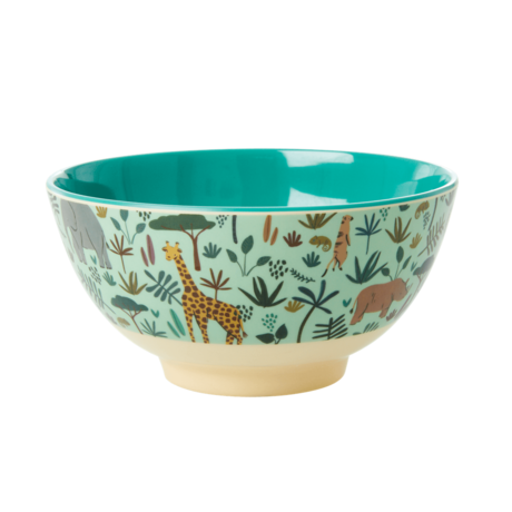 Rice Dk Melamine Jungle Medium Blue Animal Bowl
