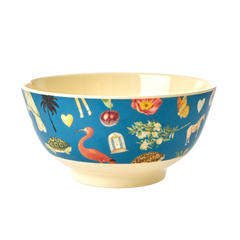 Rice DK Blue Art Print Two Tone Melamine Bowl - MEDIUM - JOËLLE WEHKAMP