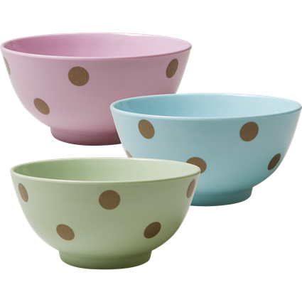 Rice DK Melamine Bowl with Gold Polka Dots