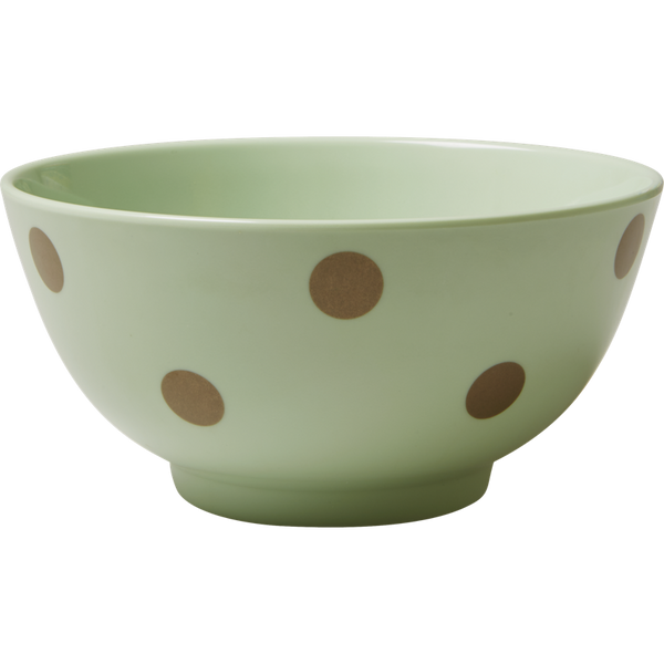 Rice DK Melamine Bowl with Gold Polka Dots - Green