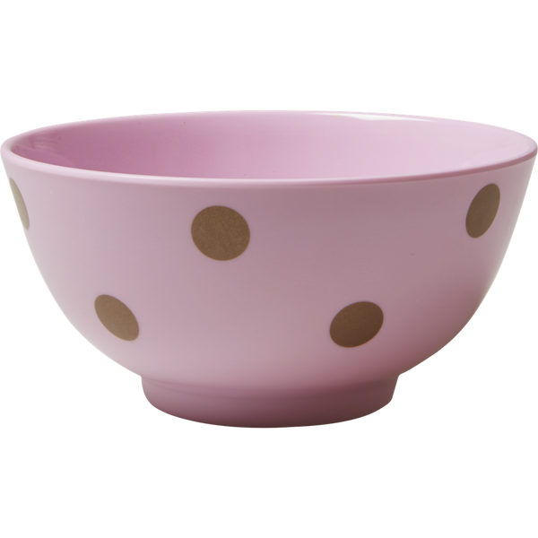 Rice DK Melamine Bowl with Gold Polka Dots - Pink