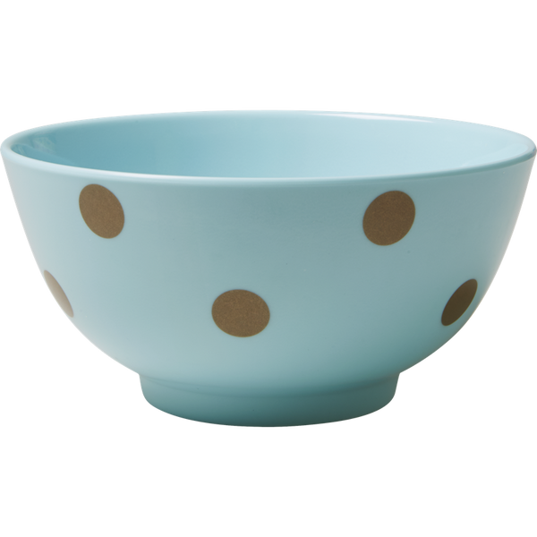 Rice DK Melamine Bowl with Gold Polka Dots - Blue