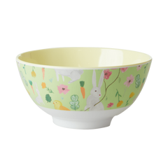 Rice DK Apple Green Easter Medium Print Two Tone Melamine Bowl