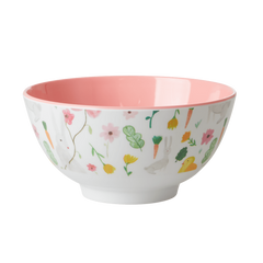 Rice DK White Easter Medium Print Two Tone Melamine Bowl