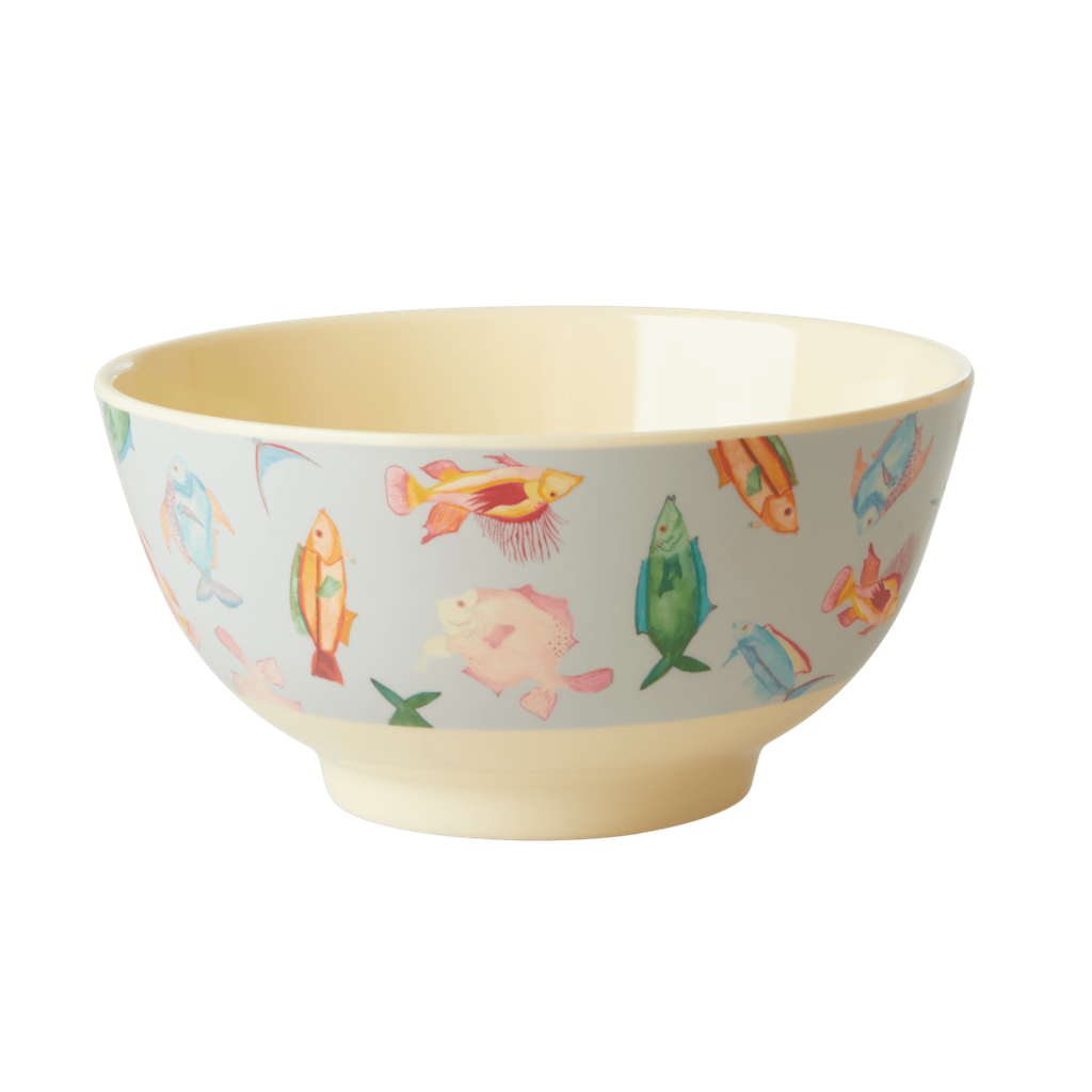 Rice DK Fish Print Two Tone Melamine Bowl