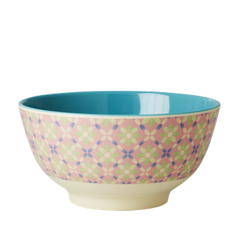 Rice DK | Two-Tone Melamine Bowl Flower Tile Print