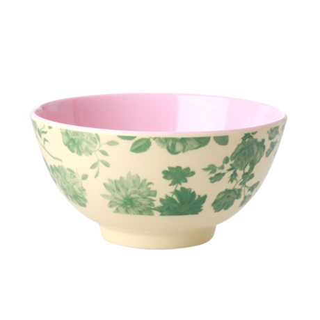 Rice DK Green Rose Print Two Tone Melamine Bowl