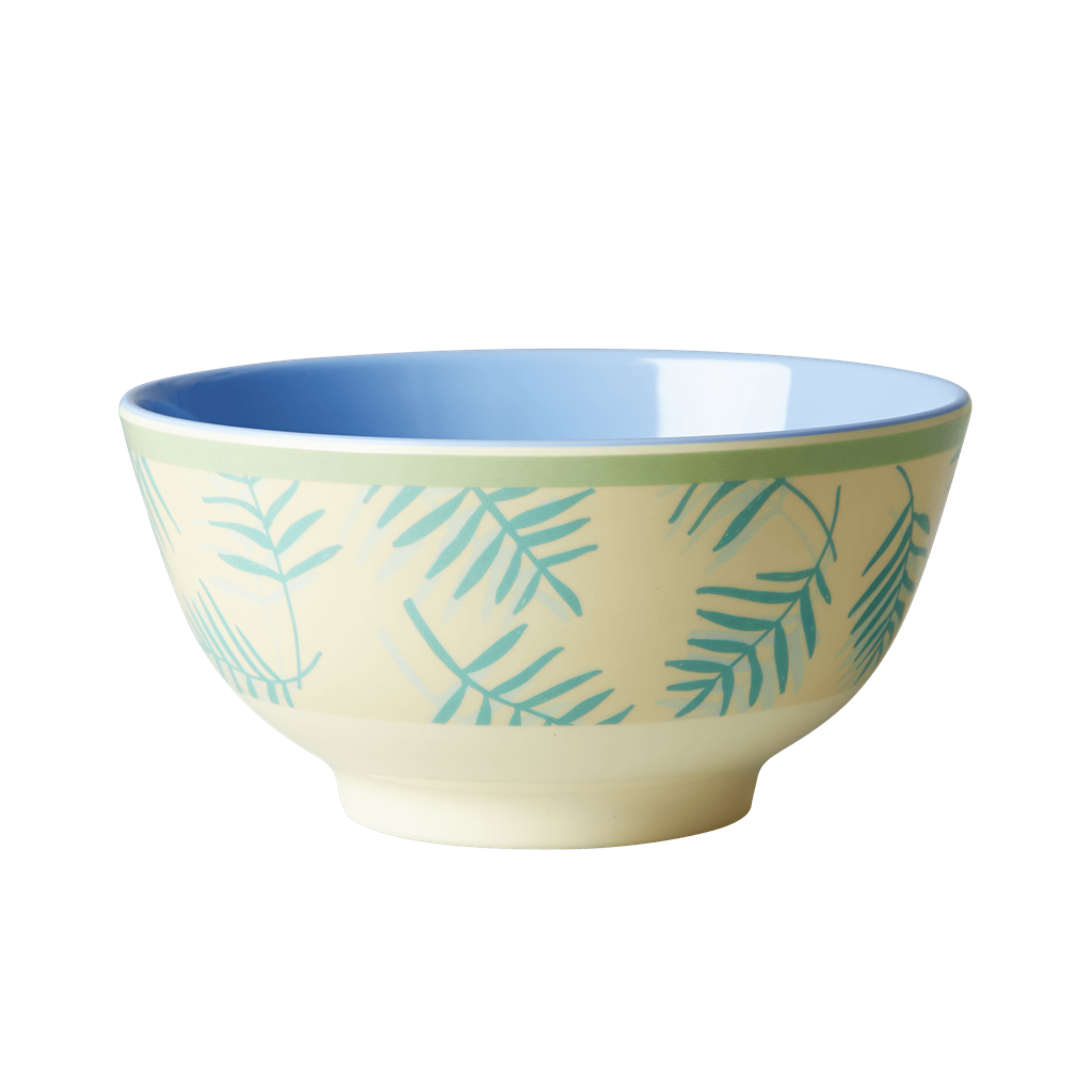 Rice DK Palm Leaves Print Two Tone Melamine Bowl
