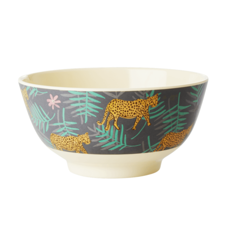 Rice DK Leopard and Leave Print Two Tone Bowls