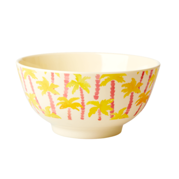 Rice DK Palm Tree Print Two Tone Melamine Bowl