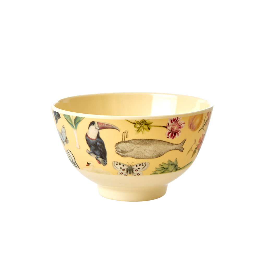 Rice DK Yellow Art Print Two Tone Melamine Bowl - SMALL - JOËLLE WEHKAMP