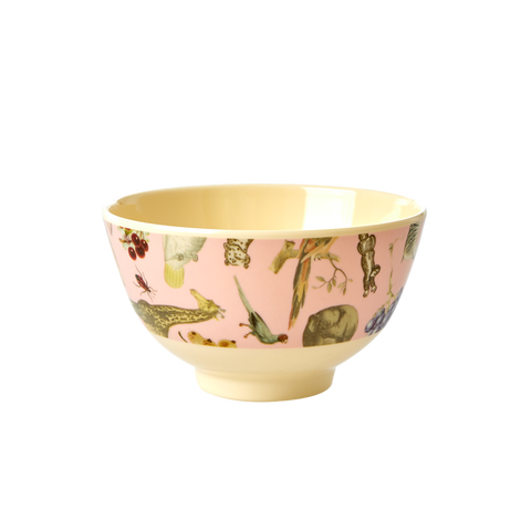 Rice DK Pink Art Print Two Tone Melamine Bowl - SMALL - JOËLLE WEHKAMP