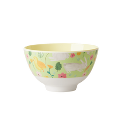 Rice DK Apple Green Easter Small Print Two Tone Melamine Bowl