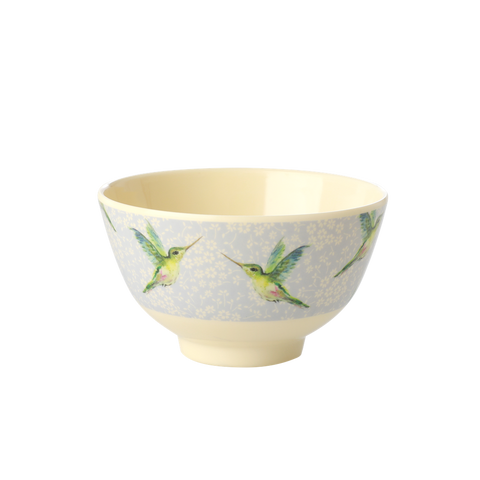 Rice DK Hummingbird Small Print Two Tone Melamine Bowl