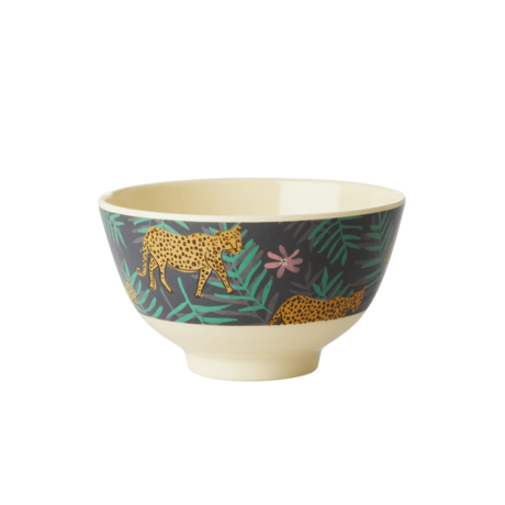 Rice DK Leopard and Leave Print Two Tone Medium Bowl