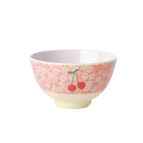 Rice DK Small Flowers and Cherry Print Two Tone Small Bowl