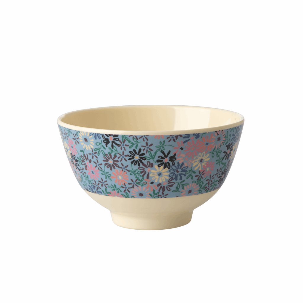 Rice DK | Two-Tone Small Melamine Bowl Small Flower Print