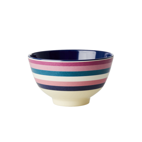 Rice DK Stripe Print Two Tone Melamine Bowl
