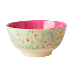 Rice DK Summer Flowers in Sage Green Print Two Tone Melamine Bowl