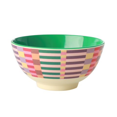 Rice DK Summer Stripes Print Two Tone Melamine Bowl