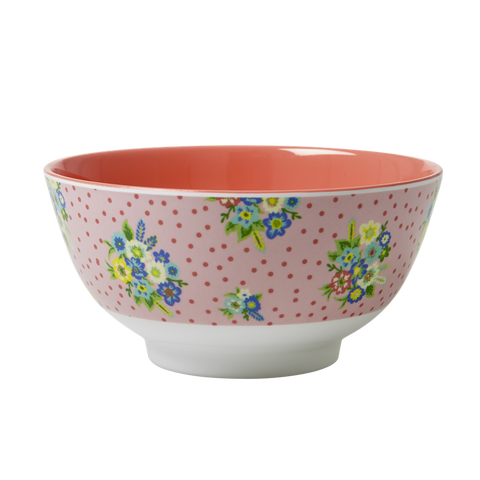 Rice DK Red Vintage Flowers Melamine Bowl