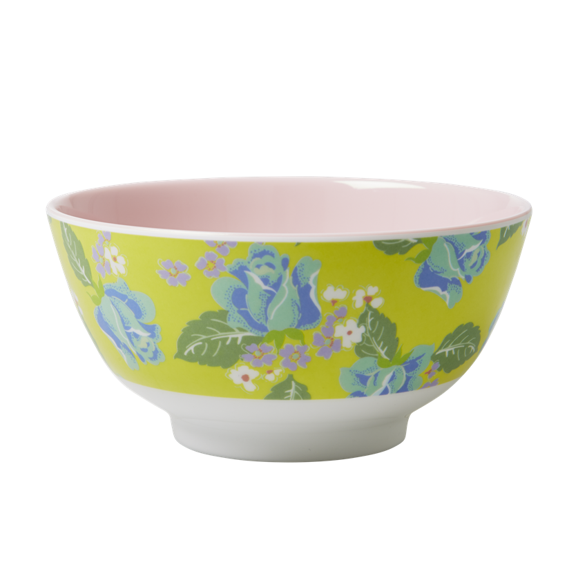 Rice DK Yellow Vintage Rose Melamine Bowl