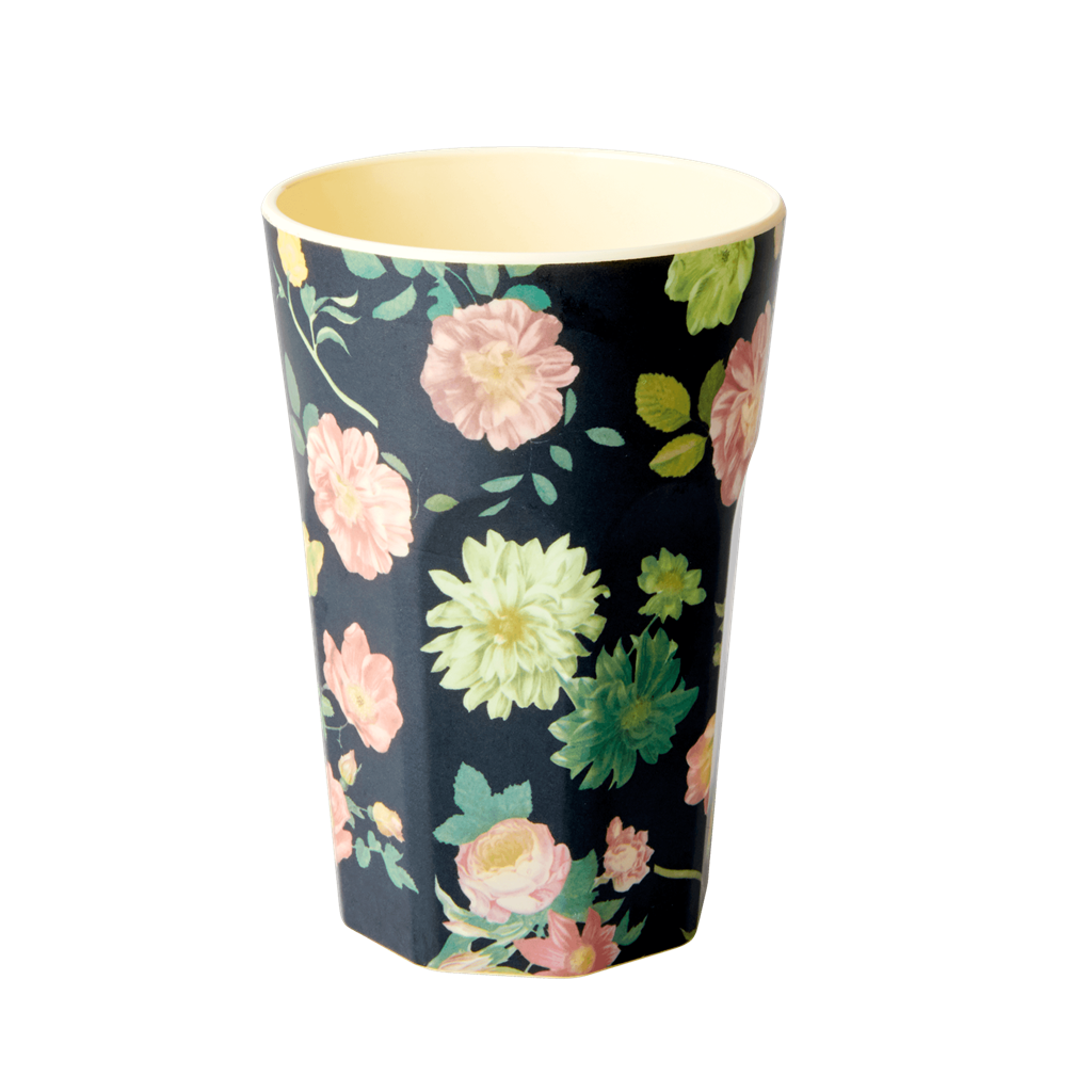 Rice DK Dark Rose Print Two Tone Melamine Latte Cup
