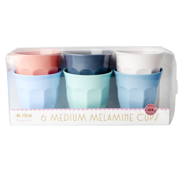 Rice DK Set of 6 Medium Melamine Cups HAPPY 21 COLORS