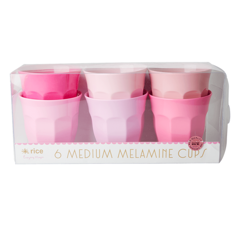 Rice DK Set of 6 Medium Curve Pink Melamine Cups