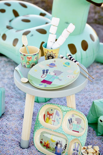 Rice DK | Kids Melamine Lunch Plate with Happy Camper Cat Print