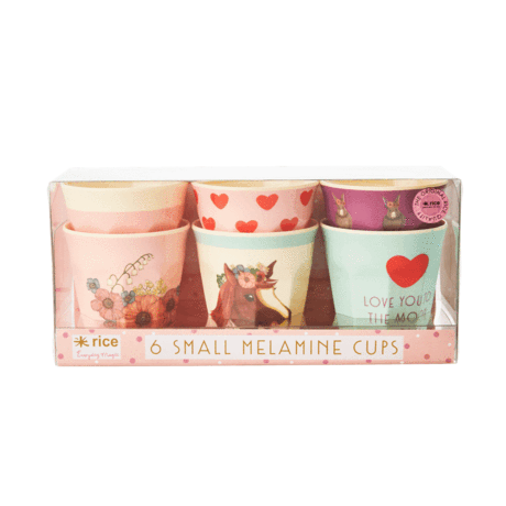 Rice DK | Set of 6 Small Melamine Cups in Animal Farm Pink Print