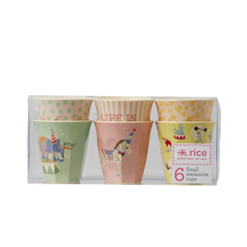 Rice DK | Set of 6 Small Melamine Girls Circus Print Cups