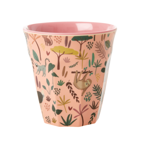Rice DK Melamine Pink Cup Jungle PRINT - MEDIUM