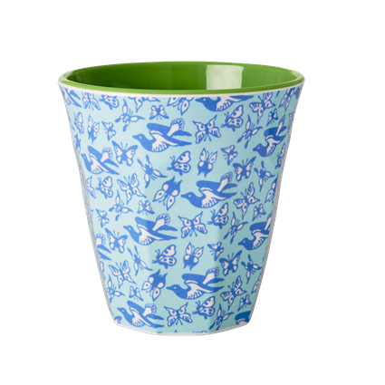 Rice DK Melamine Cup Two Tone Bird & Butterflies Print