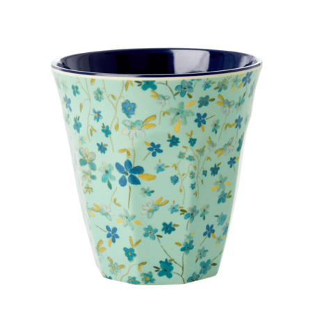 Rice DK MELAMINE CUP WITH Blue Floral PRINT - MEDIUM