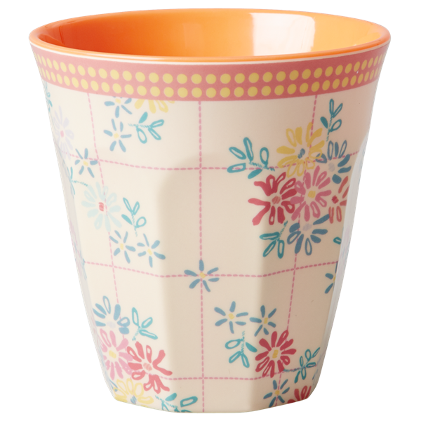 Rice DK Embroidered Flower Print Two Tone Melamine Cup