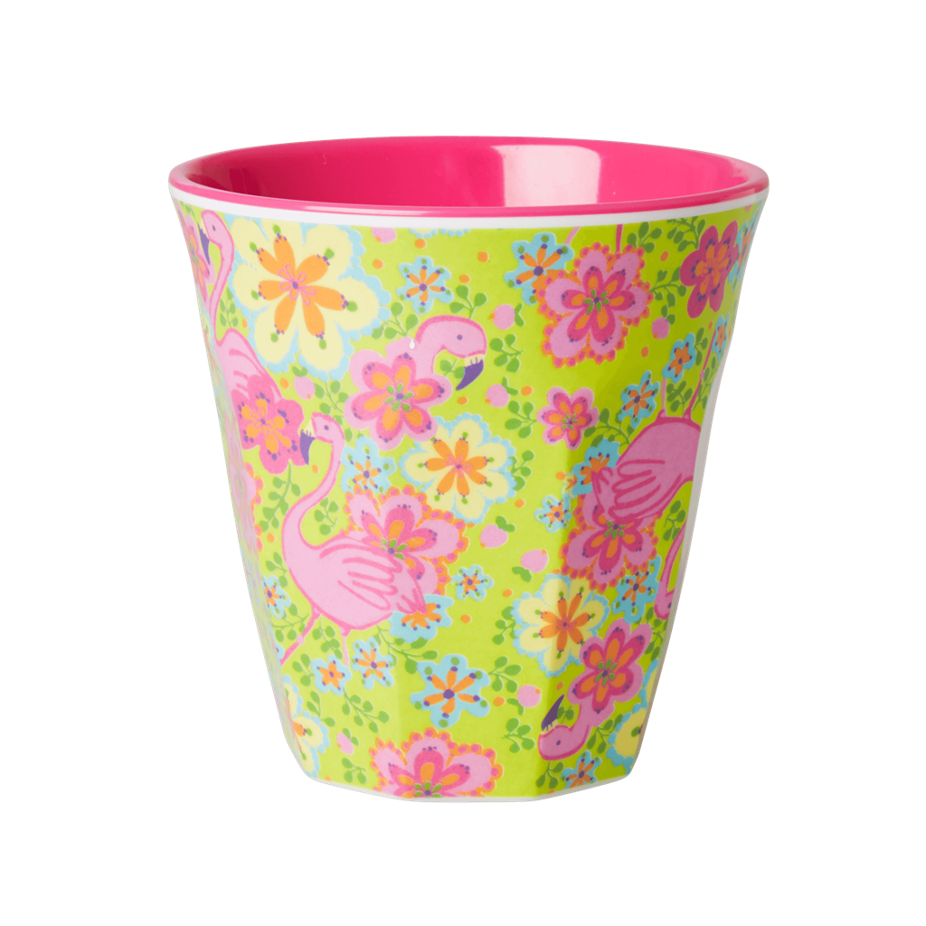 Rice DK Melamine Two-Tone Flamingo Print Cup