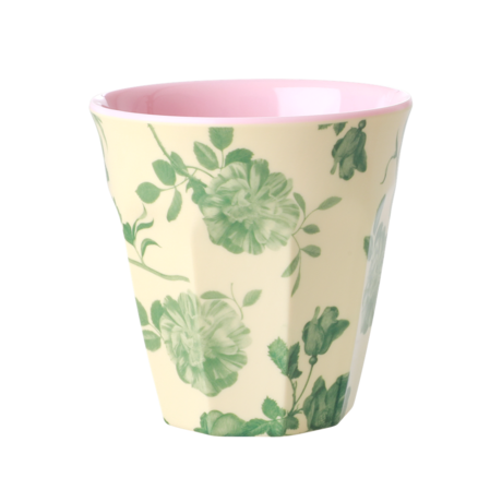 Rice DK Green Rose Print Two Tone Melamine Cup