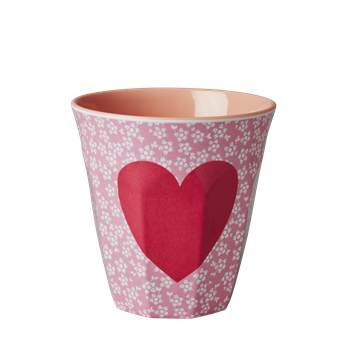 Rice DK Two Tone Melamine Cup Heart Print