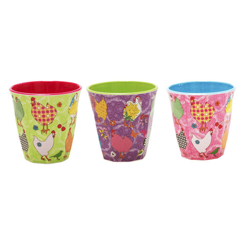 Rice DK Melamine Cups | Set of 3 Hen Print in 3 Colors